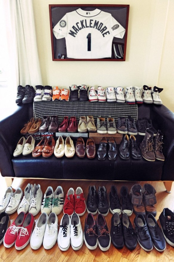 Some of Macklemore's personal shoe collection.
